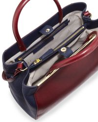 Halston - Multicolor Colorblock Leather Satchel - Lyst