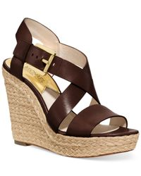Michael Kors - Brown Michael Giovanna Platform Wedge Sandals - Lyst
