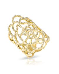 Anne Sisteron | Metallic 14kt Yellow Gold Diamond Camellia Flower Ring | Lyst