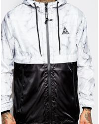 Criminal Damage | Black Windbreaker Jacket In Marble Print for Men | Lyst