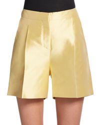 Valentino   Metallic Silk Wide-leg Shorts   Lyst