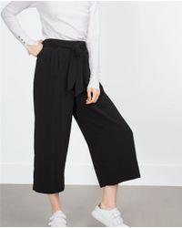 Zara | Black Cropped Flowing Trousers | Lyst