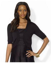Lauren by Ralph Lauren - Black Short-Sleeve Open-Front Cardigan - Lyst