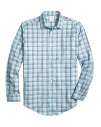Brooks Brothers | Blue Non-iron Regent Fit Plaid Sport Shirt for Men | Lyst