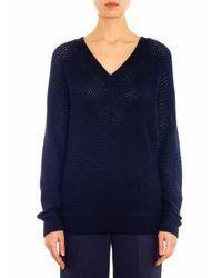 Vince | Blue Basketweave Wool-blend Sweater | Lyst