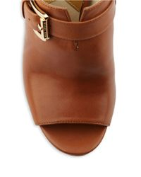 MICHAEL Michael Kors | Brown Isabella Leather Open Toe Platform Mules | Lyst