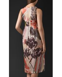 Burberry - Multicolor Floral Print Silk Cotton Shift Dress - Lyst