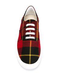 Comme des Garçons - Red Tartan Low-Top Sneakers for Men - Lyst