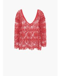 Mango - Orange Openwork Top - Lyst