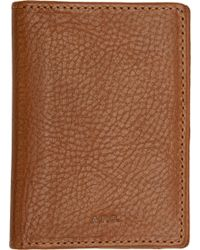 A.P.C. - Brown Grained Leather Andrew Card Holder for Men - Lyst