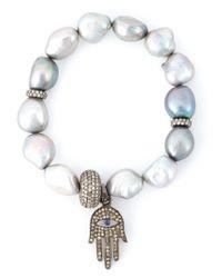 Loree Rodkin | Metallic Embellished Fatima Hand Bracelet | Lyst