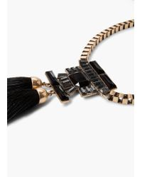 Mango - Metallic Tassel Pendant Necklace - Lyst