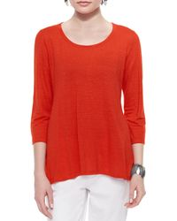 Eileen Fisher | Red 3/4-sleeve Linen Jersey Top | Lyst