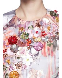 MSGM - Multicolor Sequin Floral Duchesse Satin Top - Lyst