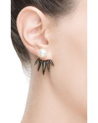 Nikos Koulis | Black Detachable White Pearl and White Diamonds Spectrum Collection Spike Earrings | Lyst