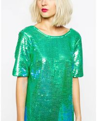 ASOS - Blue All Over Sequin T Shirt - Lyst