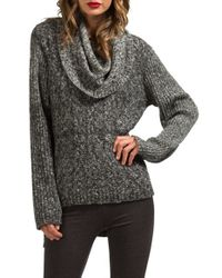Lamade | Gray Oversize Cowl Neck High/low Sweater | Lyst
