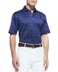 Peter Millar - Blue Cornelius Windowpane Polo Shirt for Men - Lyst