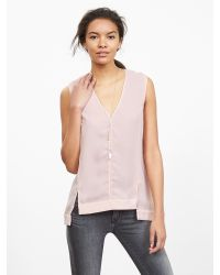 Banana Republic | Pink Crepe High/low Vee Tank | Lyst