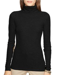 Lauren by Ralph Lauren | Black Petite Cotton Turtleneck Top | Lyst