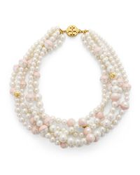 Tory Burch - Pink Dipped Evie Statement Necklace - Lyst