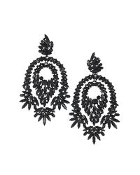BCBGMAXAZRIA - Black Oversized Rhinestone Cocktail Earrings - Lyst