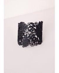 Missguided | Black Lace Effect Cut Out Cuff | Lyst