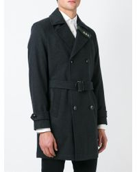 DIESEL | Gray Embroidered Star Double Breasted Coat for Men | Lyst