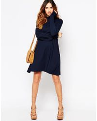 ASOS | Blue Swing Dress With Shirred Cuff And Keyhole Back | Lyst