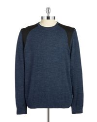 Calvin Klein | Blue Heathered Knit Sweater for Men | Lyst