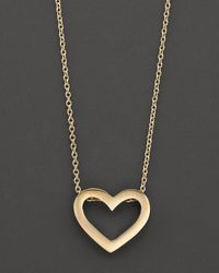 "Roberto Coin - Metallic 18 Kt. Yellow Gold ""tiny Treasure"" Heart Necklace, 18"" - Lyst"