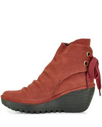 Fly London | Red Yama - Suede Wedge Booties | Lyst