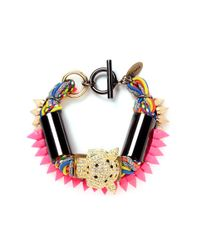 Venna - Multicolor Diamanté Jaguar Head Multi-thread Bracelet - Lyst