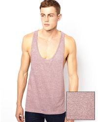 ASOS - Purple Vest with Extreme Racer Back and Textured Jersey for Men - Lyst