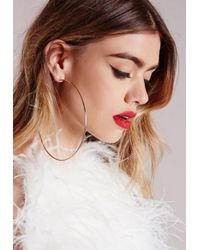 Missguided | Metallic Rose Gold Matte Hoop Earrings | Lyst