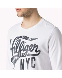 Tommy Hilfiger - White Cotton Printed T-shirt for Men - Lyst