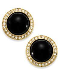 Carolee | Gold-Tone Black Button Earrings | Lyst