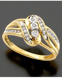 Macy's - Metallic 14k Gold Ring, Diamond Accent Swirl - Lyst