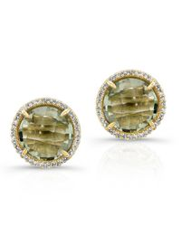 Anne Sisteron | Metallic 14kt Yellow Gold Green Amyethyst Diamond Round Stud Earrings | Lyst