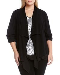 Karen Kane | Black Kane Kane Drape Front Knit Jacket With Sheer Underlay | Lyst