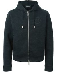 DSquared² - Gray Zipped Up Hoodie for Men - Lyst
