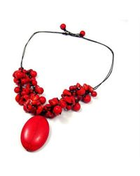 Aeravida - Red Clusters Howlite Oval Pendant Necklace - Lyst