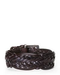 John Varvatos | Brown Braided Leather Cuff for Men | Lyst