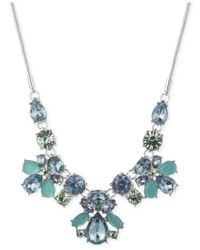 Nine West - Silver-tone Blue Crystal Frontal Necklace - Lyst