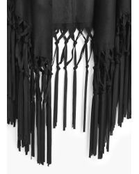 Mango | Black Fringed Cape | Lyst
