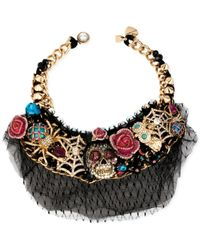 Betsey Johnson - Black Gold-Tone Skull Critter Statement Frontal Necklace - Lyst