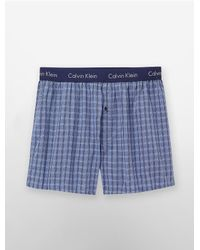 Calvin Klein - Blue Underwear Woven Slim Fit Boxers for Men - Lyst