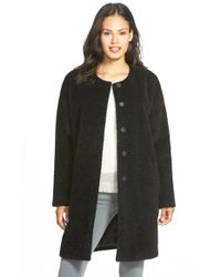 Eileen Fisher - Black Wool & Alpaca Blend Collarless Coat - Lyst