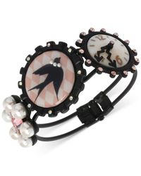 Betsey Johnson | Black-Tone Bird And Clock Hinged Bangle Bracelet | Lyst