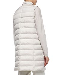 Brunello Cucinelli - White Silk Sleeveless Puffer Jacket - Lyst